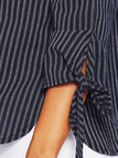 Navy Tie-up Detail Off The Shoulder Blouses