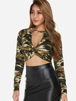 Camouflage Choker Neck Knotted Front Design Crop Top