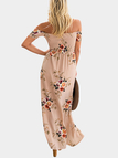 Khaki Random Floral Print Off The Shoulder Beach Dress With Slit Hem