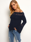 Navy Lace Insert Off The Shoulder Bell Sleeves T-shirt
