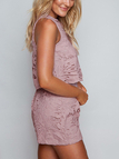 Purple Sexy Hollow Design Lace Sleeveless Co-ord