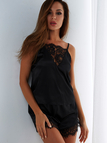 Lace Insert Pajamas in Black