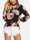 Black Sexy Flower Print Chocker Neck Long Sleeves Blouse
