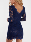 Navy Long Sleeves Midi Dress with Lace Details