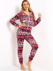 Zip Front Side Pockets Christmas Hooded Fleece Onesie