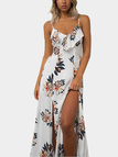 Tied Up Side Random Floral Print Maxi Dress in White