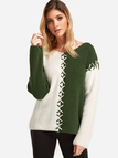 Army Green Stitching Design V-neck Long Sleeves Contrast Color Sweaters