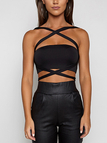 Black Strap Design Tube Top