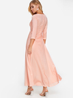 Pink Round Neck Half Sleeves Maxi Dresses
