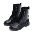 Black Lace Up Round Toe Chunky Martin Boots