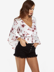 White Crossed Front Random Floral Print V-neck Stretch Waistband Crop Top