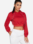 Red Hooded Design Plain Round Neck Long Sleeves Hoodie