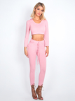 Pink Sexy V-neck Cropped Suit With Hood