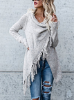 Grey Tassel Details Long Sleeves Sweater Outerwear