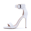 Stiletto Sandals with Ankle Strap in White