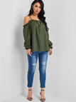 Army Green Button Design Off-The-Shoulder Spaghetti Blouses