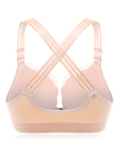 Plus Size Nude Front Closure Lace Trim Criss-Cross Back Wireless Bra