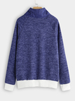 Blue Zip Design Plain Turtleneck Long Sleeves Sweatshirts