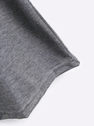Basic Round Neck Letter Print Tee in Grey
