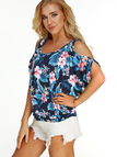 Navy Random Floral Print Cold Shoulder Tie-up At Back T-shirt