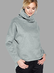 Grey High Neck Irregular Hem Casual Sweatshirt