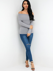 Grey Off Shoulder Bodycon Fashion Knitted Sweater