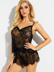 Black Floral Lace See-through Pajamas Set