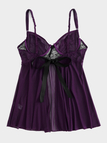 Plus Size Purple Lace Insert Babydoll With Thong