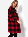 Red Button Design Grid Lapel Collar Trench Coat With Patch Pockets