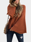 Coffee Round Neck Bell Sleeves Oversize Knitted Jumper