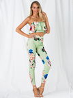 Green Off-The-Shoulder Random Floral Print Ruffle Overlay Two Piece Outfits
