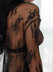 Black Tease Floral Lace Tie-up Front Robe Long Pajamas