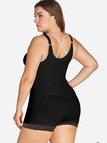 Plus Size Black Lace Trim Shapewear Bodysuit