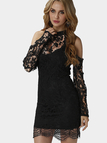 Black Sexy Crew Neck Cold Shoulder Lace Dress