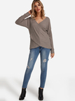 Taupe Crossed Front Design V-neck Long Sleeves Knitted Top