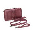 Red Textured Leather-look Clutch Bag with Detachable Tassel Embellishment