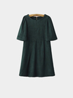 Suedette Green Dress with Cape Sleeve