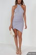 Gray Halter Sexy Bodycon Mini Dress