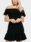 Black Sexy Off Shoulder Tiered Mini Dress