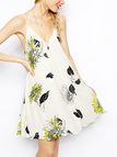 Sexy Backless Random Floral Print Pattern Dress