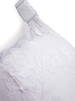 Plus Size White Lace Trim Thin Padded Bra with Wire