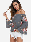 Grey Random Floral Print Off The Shoulder Bell Sleeves Blouses