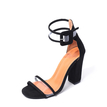 Black Sexy Stitching Design Sandals with Chunky Heel