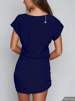 Casual Round Neck Self-tie Waist Mini Dress With Short Sleeves