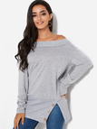 Grey Slit Design Plain Off The Shoulder Long Sleeves Sweatshirts