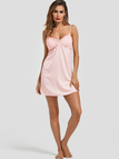 Pink Lace Insert Satin Cami Nightdress