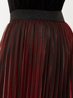 Burgundy Mesh High-waisted Pleated Skirts With Lining