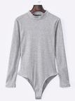 Grey Sexy Bodycon Long Sleeves Bodysuit