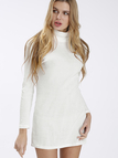 White Sexy High Neck Long Sleeves Knit Casual Dress
