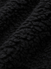 Black Color Stitching Classic Collar Long Sleeves Faux Fur Coat